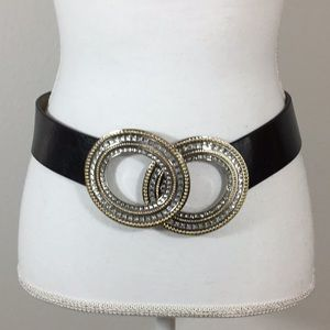 Chicos Adjustable Leather Rhinestone Belt Size S/M